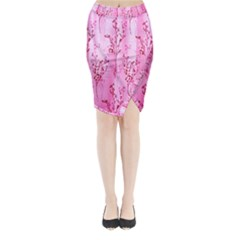 Pink Curtains Background Midi Wrap Pencil Skirt