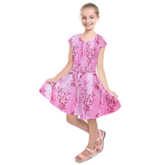 Pink Curtains Background Kids  Short Sleeve Dress