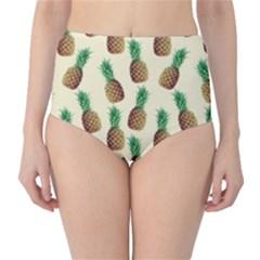 Pineapple Wallpaper Pattern High-Waist Bikini Bottoms