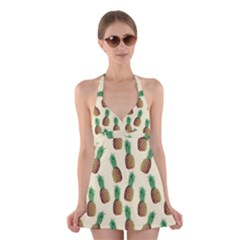 Pineapple Wallpaper Pattern Halter Swimsuit Dress