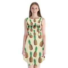 Pineapple Wallpaper Pattern Sleeveless Chiffon Dress