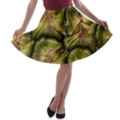 Pineapple Fruit Close Up Macro A Line Skater Skirt