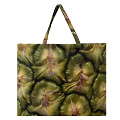 Pineapple Fruit Close Up Macro Zipper Large Tote Bag