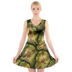 Pineapple Fruit Close Up Macro V Neck Sleeveless Skater Dress