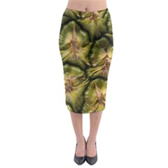 Pineapple Fruit Close Up Macro Midi Pencil Skirt