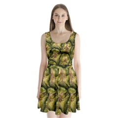Pineapple Fruit Close Up Macro Split Back Mini Dress