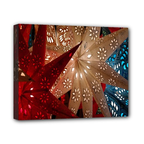 Poinsettia Red Blue White Canvas 10  x 8