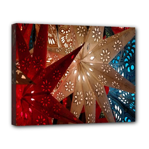 Poinsettia Red Blue White Canvas 14  x 11