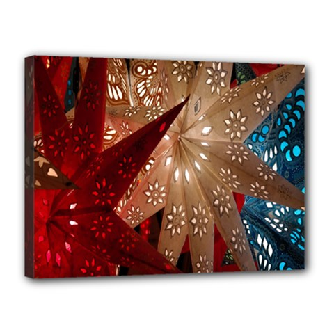 Poinsettia Red Blue White Canvas 16  x 12