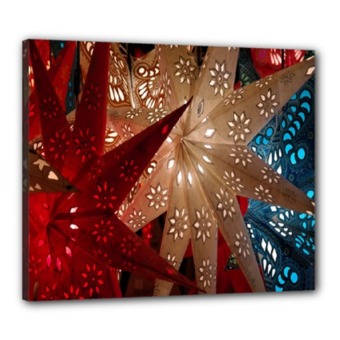 Poinsettia Red Blue White Canvas 24  x 20