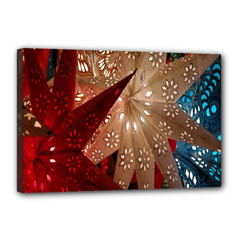 Poinsettia Red Blue White Canvas 18  x 12