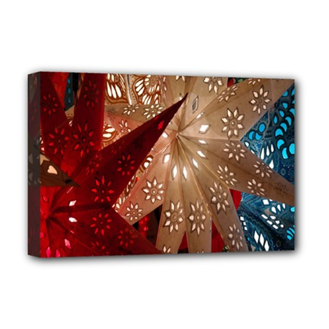 Poinsettia Red Blue White Deluxe Canvas 18  X 12