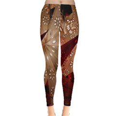 Poinsettia Red Blue White Leggings