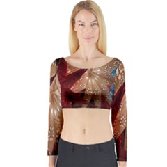Poinsettia Red Blue White Long Sleeve Crop Top