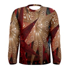 Poinsettia Red Blue White Men s Long Sleeve Tee