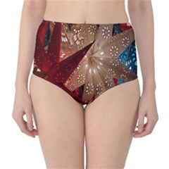Poinsettia Red Blue White High Waist Bikini Bottoms