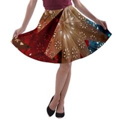 Poinsettia Red Blue White A Line Skater Skirt