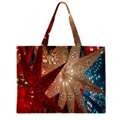 Poinsettia Red Blue White Large Tote Bag