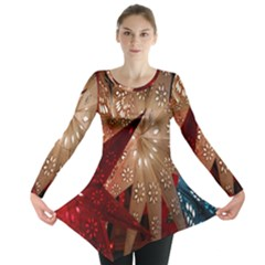 Poinsettia Red Blue White Long Sleeve Tunic