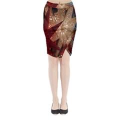 Poinsettia Red Blue White Midi Wrap Pencil Skirt