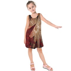 Poinsettia Red Blue White Kids  Sleeveless Dress