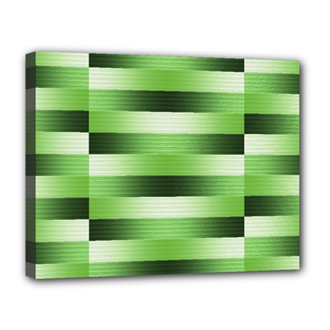 Pinstripes Green Shapes Shades Canvas 14  x 11