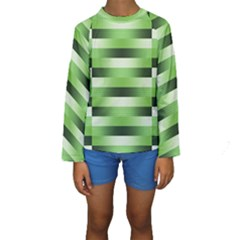 Pinstripes Green Shapes Shades Kids  Long Sleeve Swimwear