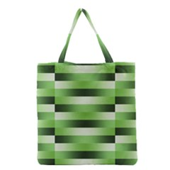 Pinstripes Green Shapes Shades Grocery Tote Bag