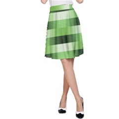 Pinstripes Green Shapes Shades A Line Skirt