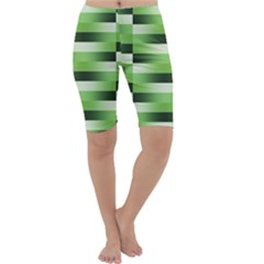 Pinstripes Green Shapes Shades Cropped Leggings