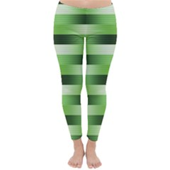 Pinstripes Green Shapes Shades Classic Winter Leggings