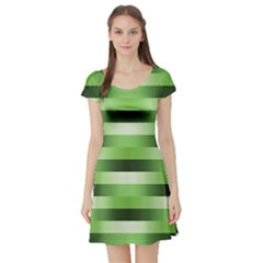 Pinstripes Green Shapes Shades Short Sleeve Skater Dress