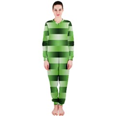 Pinstripes Green Shapes Shades Onepiece Jumpsuit (ladies)