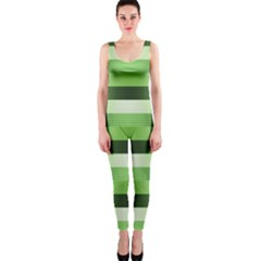Pinstripes Green Shapes Shades OnePiece Catsuit