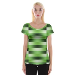 Pinstripes Green Shapes Shades Women s Cap Sleeve Top