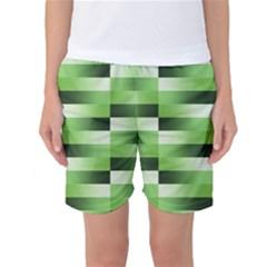 Pinstripes Green Shapes Shades Women s Basketball Shorts