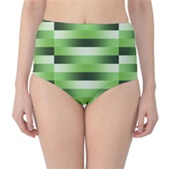 Pinstripes Green Shapes Shades High-Waist Bikini Bottoms