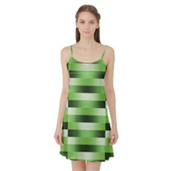 Pinstripes Green Shapes Shades Satin Night Slip