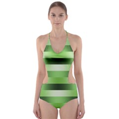 Pinstripes Green Shapes Shades Cut-Out One Piece Swimsuit