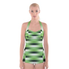 Pinstripes Green Shapes Shades Boyleg Halter Swimsuit
