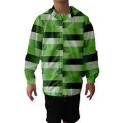 Pinstripes Green Shapes Shades Hooded Wind Breaker (kids)