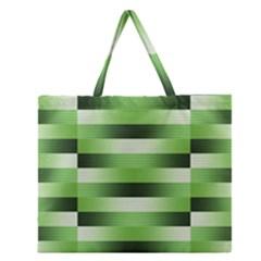 Pinstripes Green Shapes Shades Zipper Large Tote Bag
