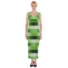 Pinstripes Green Shapes Shades Fitted Maxi Dress