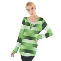 Pinstripes Green Shapes Shades Women s Tie Up Tee