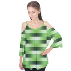 Pinstripes Green Shapes Shades Flutter Tees