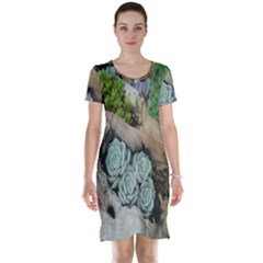 Plant Succulent Plants Flower Wood Short Sleeve Nightdress