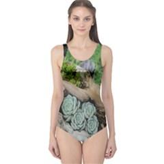 Plant Succulent Plants Flower Wood One Piece Swimsuit