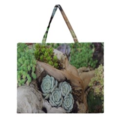 Plant Succulent Plants Flower Wood Zipper Large Tote Bag