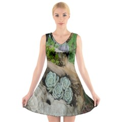 Plant Succulent Plants Flower Wood V Neck Sleeveless Skater Dress