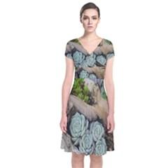 Plant Succulent Plants Flower Wood Short Sleeve Front Wrap Dress